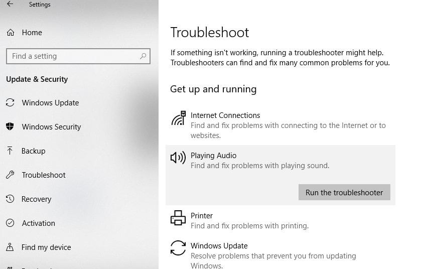 Windows 10 Audio Troubleshooter