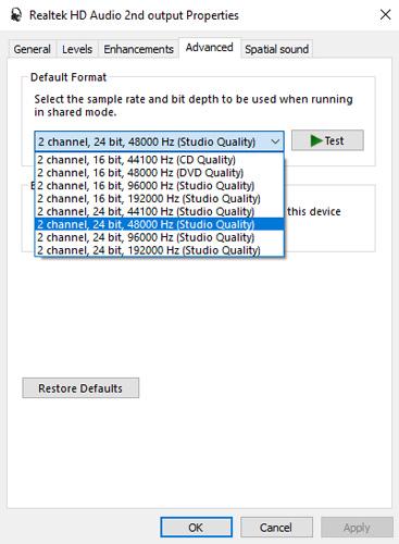 Change default sound format