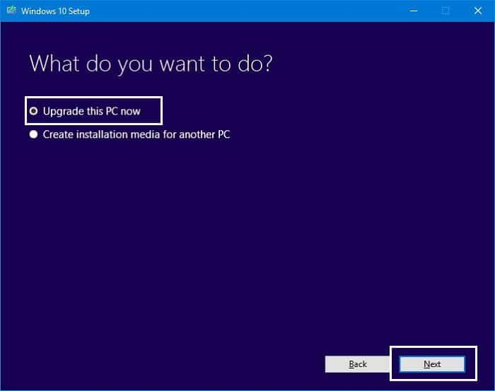 upgrade this PC using media creation tool