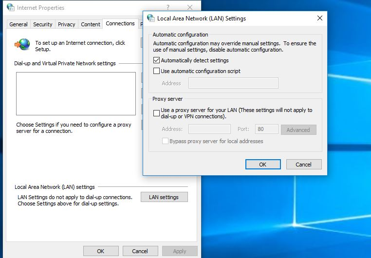Disable Proxy Settings for LAN