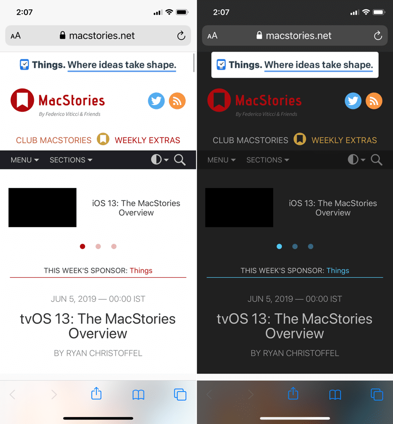 iOS 13 Dark Mode Websites in Safari