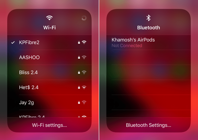 Control Center Wi-Fi Toggles