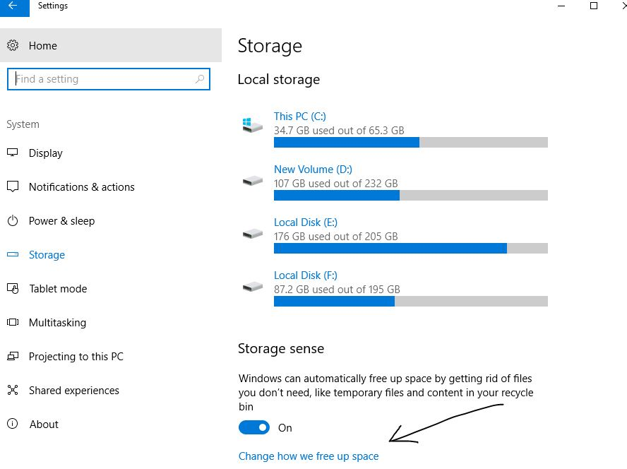 Turn on Storage Sense auto delete unused temporary files