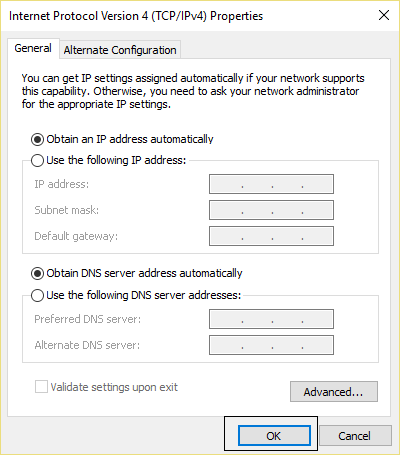 Obtain an IP address and DNS automatically