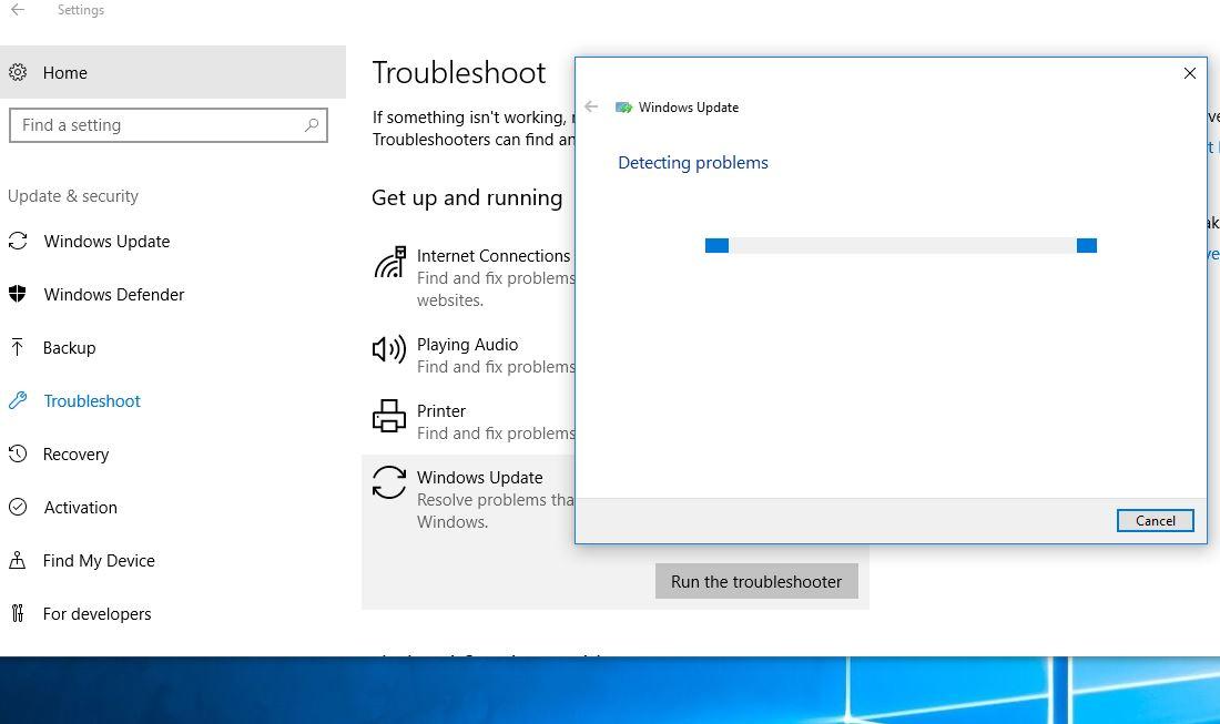 Run Windows 10 Update Troubleshooter