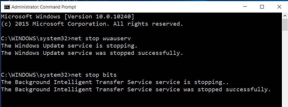 stop windows update service