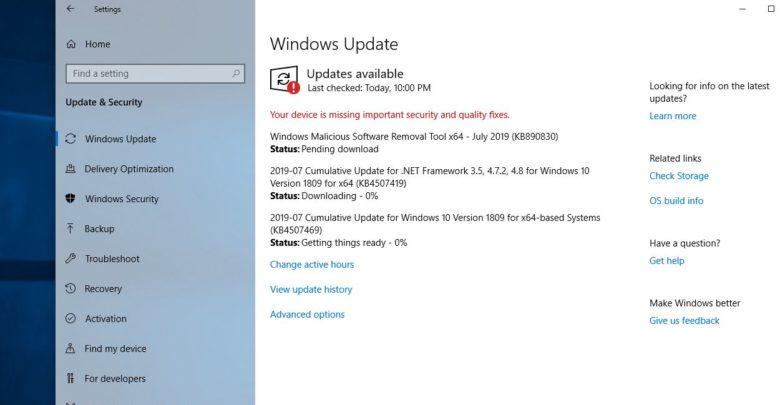 Windows 10 update (KB4505903) stuck checking for updates