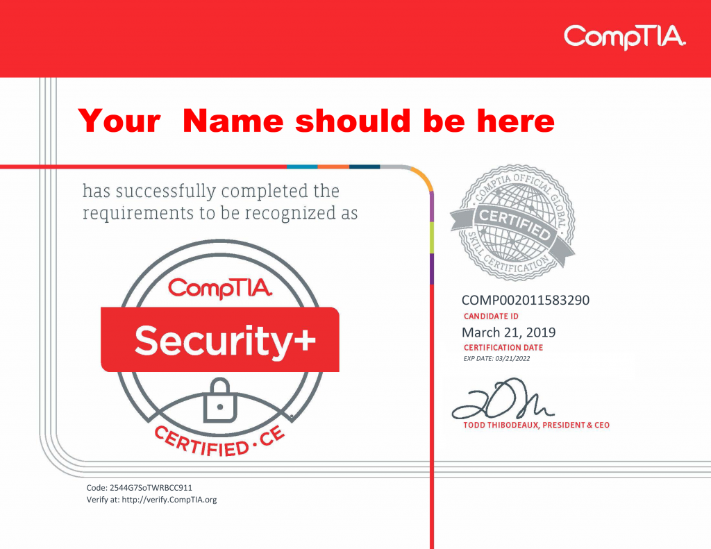 comptia security certification need
